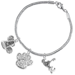 "Paw Crystal ""Cheer"" 3 Charm Bracelet ©2015, Safe - Hypoallergenic, Nickel, Lead & Cadmium Free"
