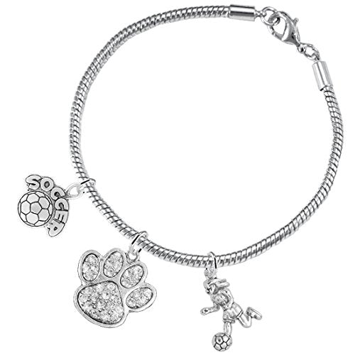 """the perfect gift """"soccer jewelry"""" crystal paw  ©2015 hypoallergenic safe - nickel & lead free"""