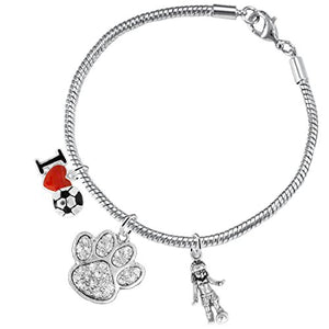 "The Perfect Gift ""Soccer Jewelry"" Crystal Paw ©2015 Hypoallergenic Safe - Nickel & Lead Free"