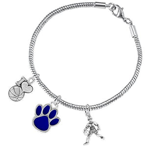 Blue Paw Basketball Jewelry, ©2016 Adjustable, Safe - Hypoallergenic, Nickel & Lead Free