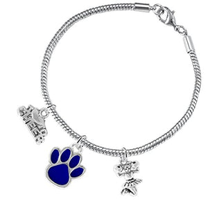 "Blue Paw ""Cheer"" 3 Charm Bracelet ©2015, Safe - Hypoallergenic, Nickel, Lead & Cadmium Free"