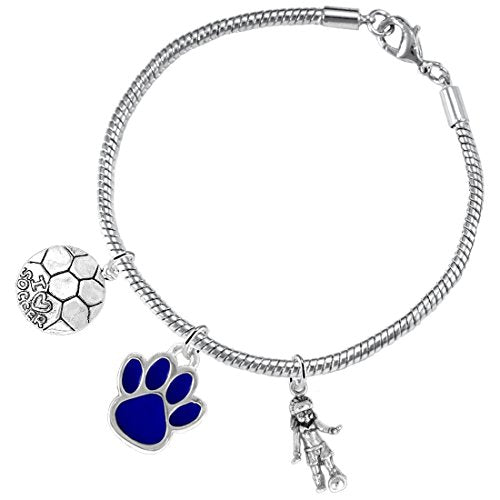 """the perfect gift """"soccer jewelry"""" blue paw  ©2015 - adjustable bracelets, safe - nickel & lead free"""