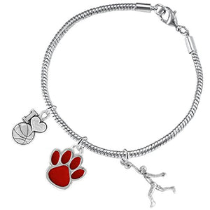 Red Paw Basketball Jewelry, ©2016 Adjustable, Safe - Hypoallergenic, Nickel & Lead Free