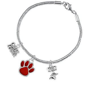 "Red Paw ""Cheer"" 3 Charm Bracelet ©2015, Safe - Hypoallergenic, Nickel, Lead & Cadmium Free"