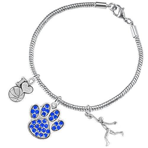 Blue Paw Crystal Basketball Jewelry, ©2016 Adjustable, Safe - Hypoallergenic, Nickel & Lead Free