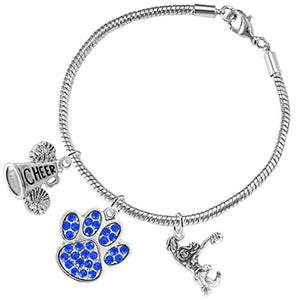 "Blue Paw Crystal ""Cheer"" 3 Charm Bracelet ©2015, Safe - Hypoallergenic, Nickel, Lead & Cadmium Free"