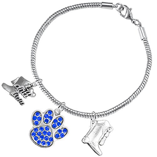 """the perfect gift """"drill team jewelry"""" blue crystal paw  ©2015 safe - nickel & lead free"""