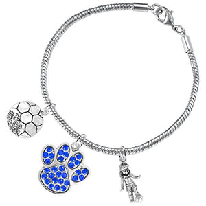 "The Perfect Gift ""Soccer Jewelry"" Blue Crystal Paw ©2015 Hypoallergenic Safe - Nickel & Lead Free"