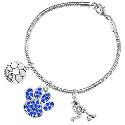 """the perfect gift """"soccer jewelry"""" blue crystal paw  ©2015 hypoallergenic safe - nickel & lead free"""