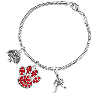 Red Paw Crystal Basketball Jewelry, ©2016 Adjustable, Safe - Hypoallergenic, Nickel & Lead Free