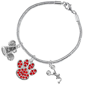 "Red Paw Crystal ""Cheer"" 3 Charm Bracelet ©2015, Safe - Hypoallergenic, Nickel, Lead & Cadmium Free"