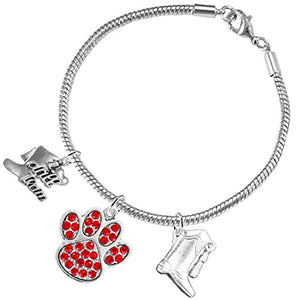 "The Perfect Gift ""Drill Team Jewelry"" Red Crystal Paw ©2015 Hypoallergenic Safe - Nickel & Lead Free"