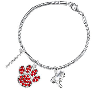 "The Perfect Gift ""Majorette Jewelry"" Red Crystal Paw ©2015 Hypoallergenic Safe - Nickel & Lead Free"