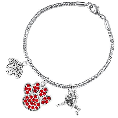 """the perfect gift """"soccer jewelry"""" red crystal paw  ©2015 hypoallergenic safe - nickel & lead free"""