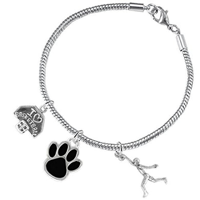 Black Paw Basketball Jewelry, ©2016 Adjustable, Safe - Hypoallergenic, Nickel & Lead Free
