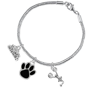 "Black Paw ""Cheer"" 3 Charm Bracelet ©2015, Safe - Hypoallergenic, Nickel, Lead & Cadmium Free"