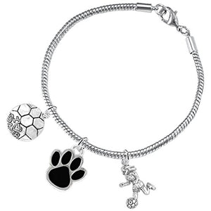 "The Perfect Gift ""Soccer Jewelry"" Black Paw ©2015 Hypoallergenic Safe - Nickel & Lead Free"