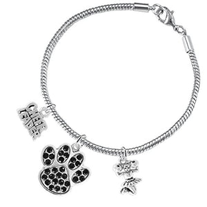 "Black Paw Crystal ""Cheer"" 3 Charm Bracelet ©2015, Safe - Hypoallergenic, Nickel, Lead & Cadmium Free"