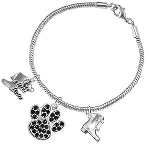 "The Perfect Gift ""Drill Team Jewelry"" Black Crystal Paw ©2015 Safe - Nickel & Lead Free"