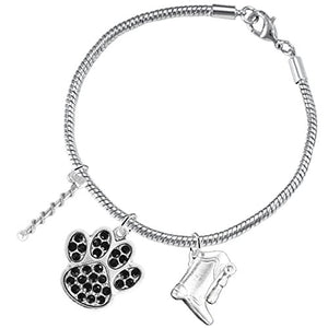 "The Perfect Gift ""Majorette Jewelry"" Black Crystal Paw ©2015 Safe - Nickel & Lead Free"
