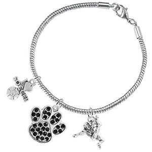 "The Perfect Gift ""Soccer Jewelry"" Black Crystal Paw ©2015 Hypoallergenic Safe - Nickel & Lead Free"