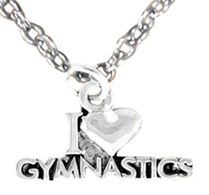 "Children's ""I Love Gymnastics"" Necklace, Adjustable, Hypoallergenic, Nickel, Lead & Cadmium Free"
