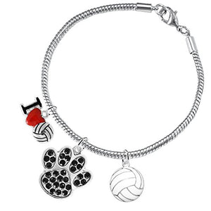 Black Crystal Paw Volleyball, ©2016 Adjustable, Safe - Hypoallergenic, Nickel & Lead Free