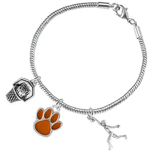 Orange Paw Basketball Jewelry, ©2016 Adjustable, Safe - Hypoallergenic, Nickel & Lead Free