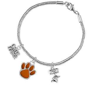 "Orange Paw ""Cheer"" 3 Charm Bracelet ©2015, Safe - Hypoallergenic, Nickel, Lead & Cadmium Free"