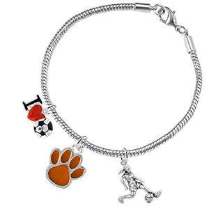 "The Perfect Gift ""Soccer Jewelry"" Orange Paw ©2015 Hypoallergenic Safe - Nickel & Lead Free"