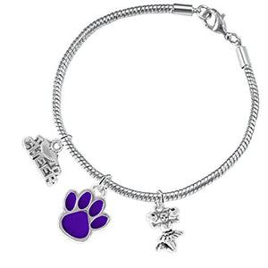 "Purple Paw ""Cheer"" 3 Charm Bracelet ©2015, Safe - Hypoallergenic, Nickel, Lead & Cadmium Free"