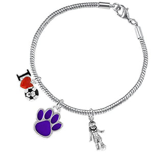 "The Perfect Gift ""Soccer Jewelry"" Purple Paw ©2015 Hypoallergenic Safe - Nickel & Lead Free"