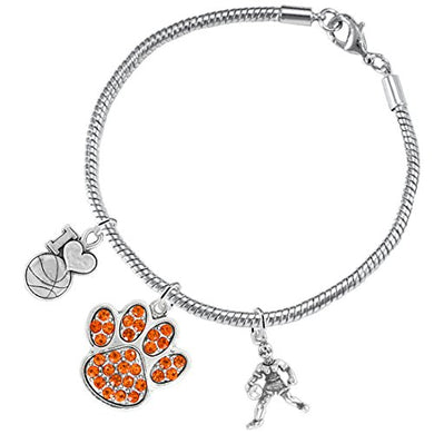 Orange Paw Crystal Basketball Jewelry, ©2016 Adjustable, Safe - Hypoallergenic, Nickel & Lead Free