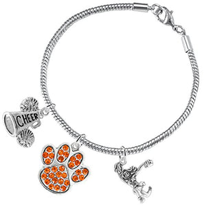 "Orange Paw Crystal ""Cheer"" 3 Charm Bracelet ©2015, Safe - Nickel & Lead Free"