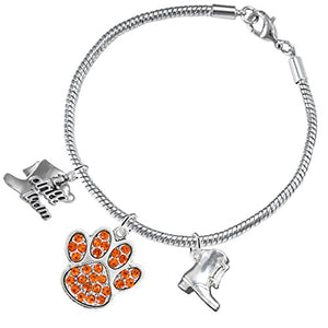 "The Perfect Gift ""Drill Team Jewelry"" Orange Crystal Paw ©2015 Safe - Nickel & Lead Free"
