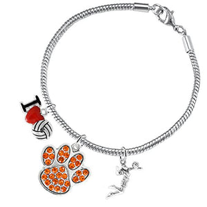 Orange Crystal Paw Volleyball, ©2016 Adjustable, Safe - Hypoallergenic, Nickel & Lead Free