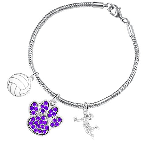 Purple Crystal Paw Volleyball, ©2016 Adjustable, Safe - Hypoallergenic, Nickel & Lead Free