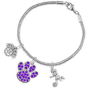 "The Perfect Gift ""Soccer Jewelry"" Purple Crystal Paw ©2015 Hypoallergenic Safe - Nickel & Lead Free"