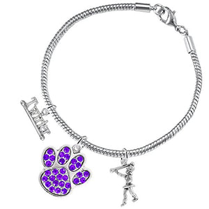 "The Perfect Gift ""Majorette Jewelry"" Purple Crystal Paw ©2015 Hypoallergenic Safe - Nickel Free"