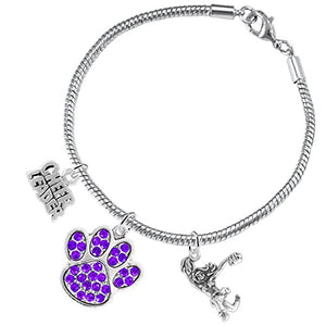 "Purple Paw Crystal ""Cheer"" 3 Charm Bracelet ©2015, Safe - Nickel & Lead Free"
