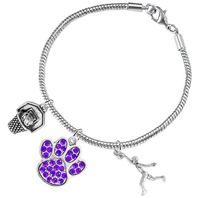 Purple Paw Crystal Basketball Jewelry, ©2016 Adjustable, Safe - Hypoallergenic, Nickel & Lead Free