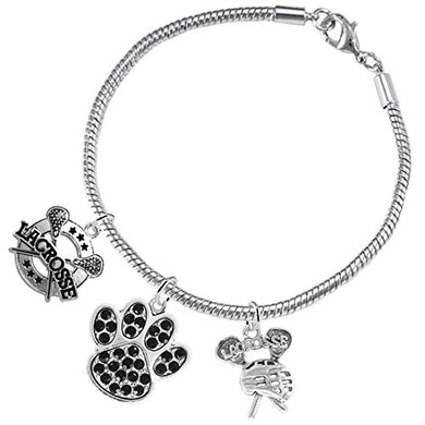 Lacrosse Jewelry, Black Crystal Paw Jewelry, ©2015 Hypoallergenic Safe - Nickel & Lead Free!