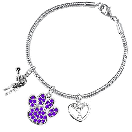 Lacrosse Jewelry, Purple Crystal Paw Jewelry, ©2015 Hypoallergenic Safe - Nickel & Lead Free!