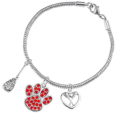 Lacrosse Jewelry, Red Crystal Paw Jewelry, ©2015 Hypoallergenic Safe - Nickel, Lead & Cadmium Free!