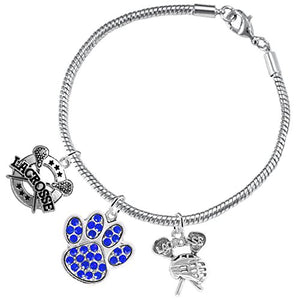 Lacrosse Jewelry, Blue Crystal Paw Jewelry, ©2015 Hypoallergenic Safe - Nickel, Lead & Cadmium Free!