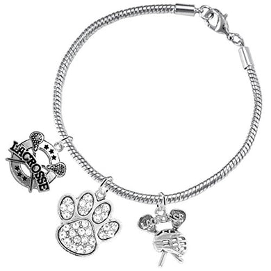 Lacrosse Jewelry, Clear Crystal Paw Jewelry, ©2015 Hypoallergenic Safe - Nickel & Lead Free!