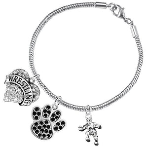 Wrestling Jewelry, Black Crystal Paw Jewelry, ©2015 Hypoallergenic Safe - Nickel & Lead Free!