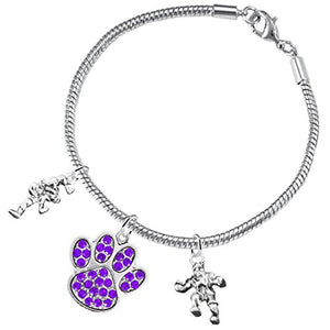 Wrestling Jewelry, Purple Crystal Paw Jewelry, ©2015 Hypoallergenic Safe - Nickel & Lead Free!