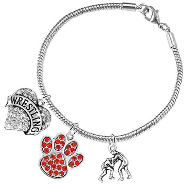 Wrestling Jewelry, Red Crystal Paw Jewelry, ©2015 Hypoallergenic Safe - Nickel, Lead & Cadmium Free!