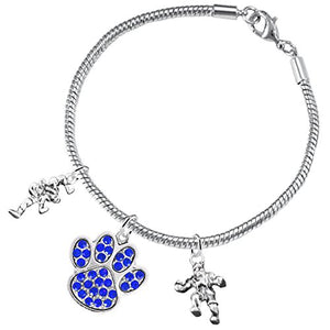 Wrestling Jewelry, Blue Crystal Paw Jewelry, ©2015 Hypoallergenic Safe - Nickel & Lead Free!